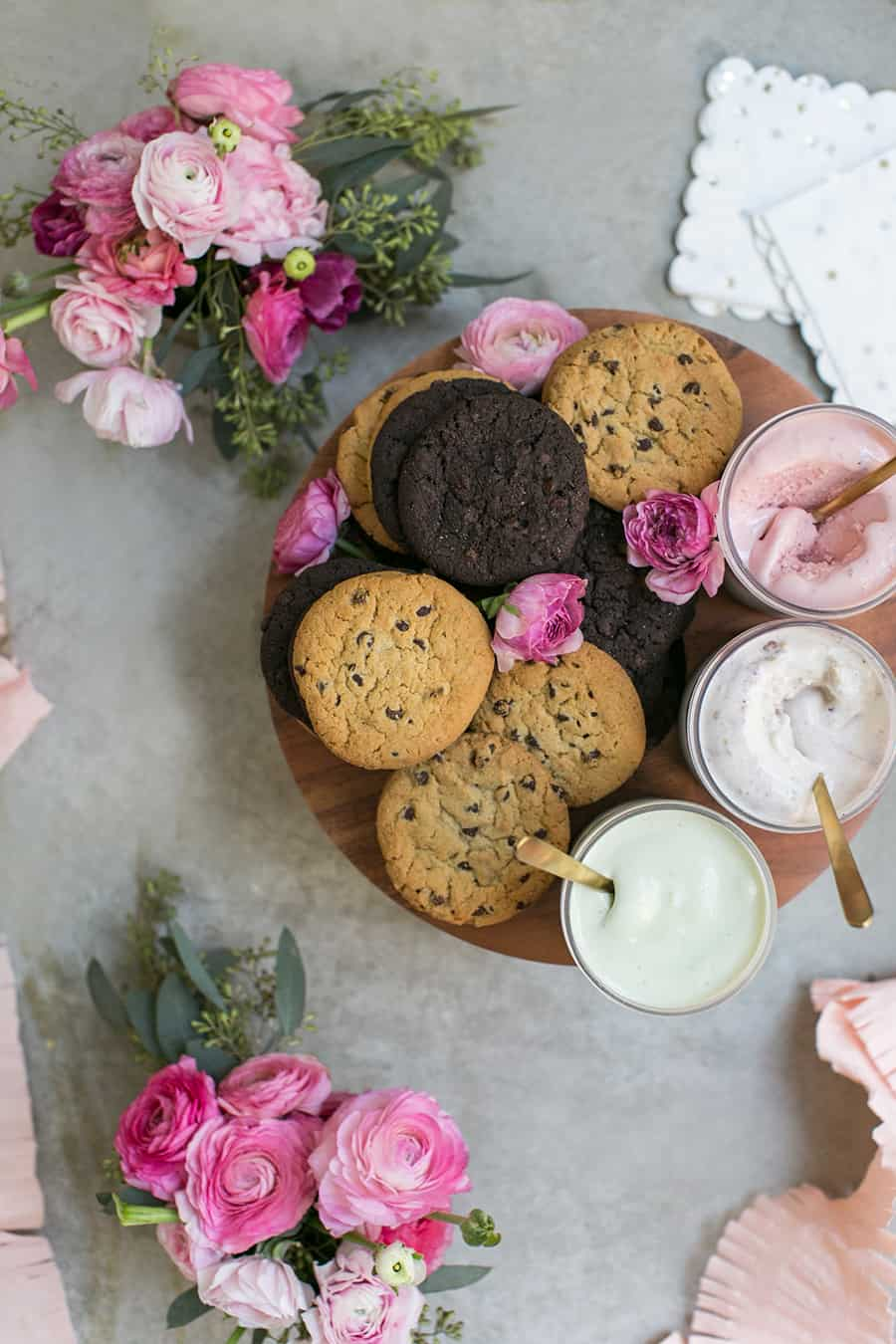 Cookies and ice cream on a platter for a Valentine's Day party