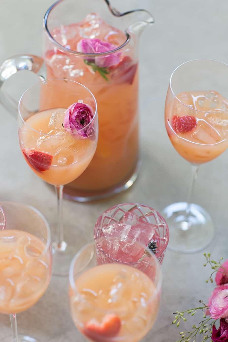 Rosé profiteer with edible flowers.