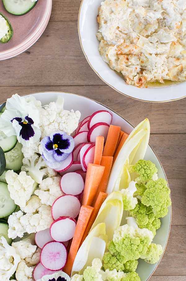 colorful game day vegetables