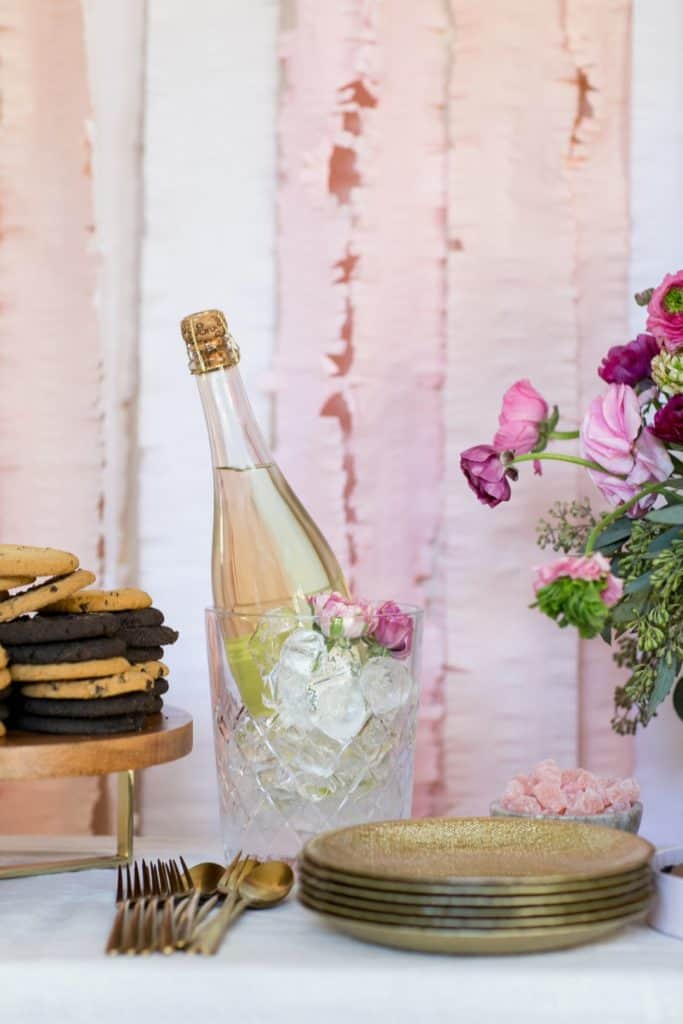 Valentine's Bar with Champagne in an ice bucket.