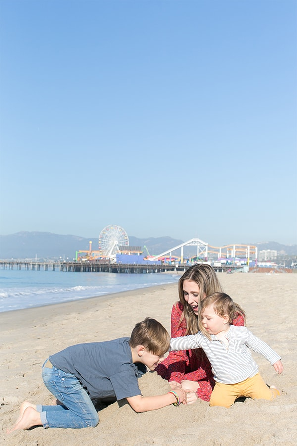 Eden Passante and Kids on the beach in Santa Monica