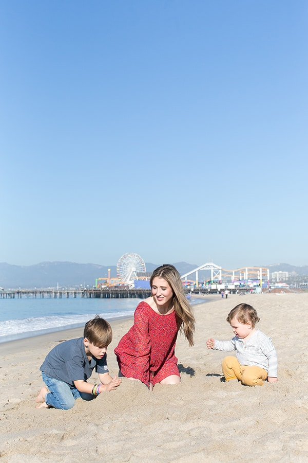 Eden Passante and her two boys on the beach in Santa Monica by the Pier