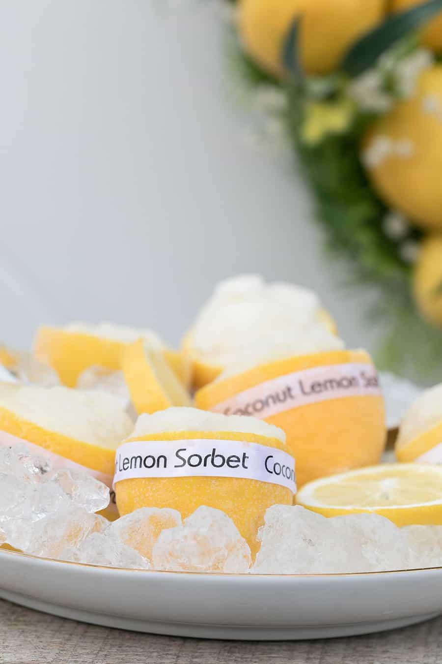lemon sorbet in a lemon.