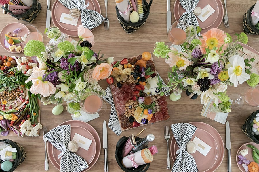 Overhead of an easy Easter brunch table.