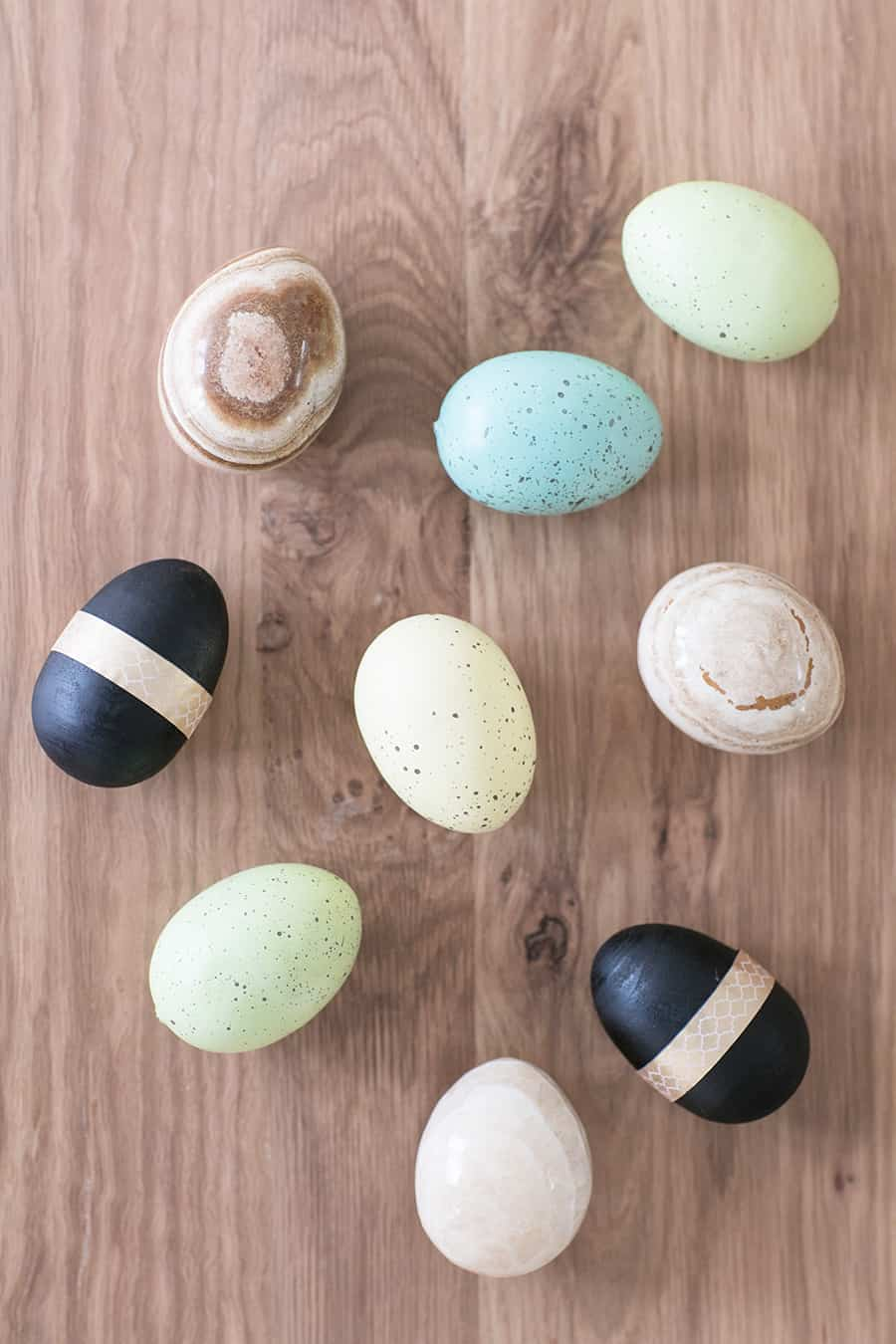 Colorful Easter eggs with ribbon.