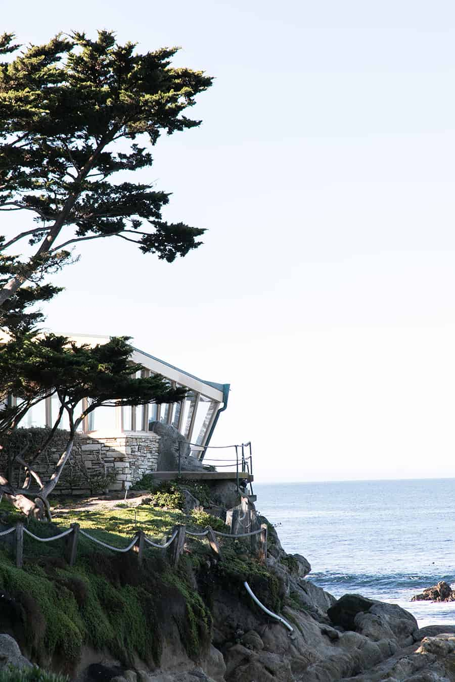 Architecture on a cliff in Carmel by The Sea.