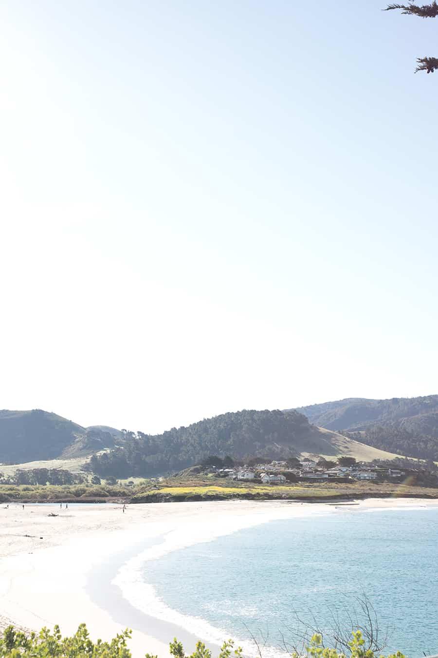 Beach with mountains in Carmel California