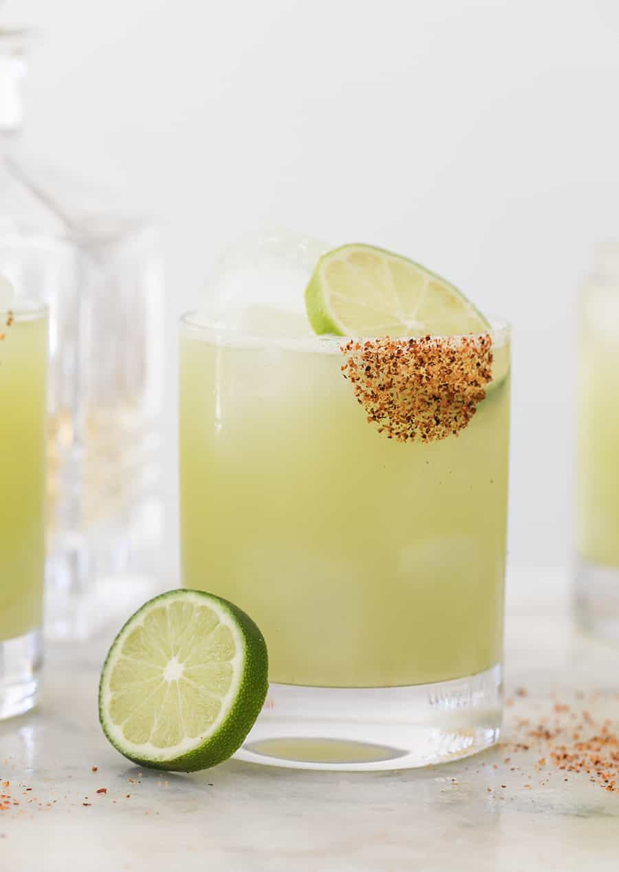 Honeydew margarita recipe with lime and chili salt.