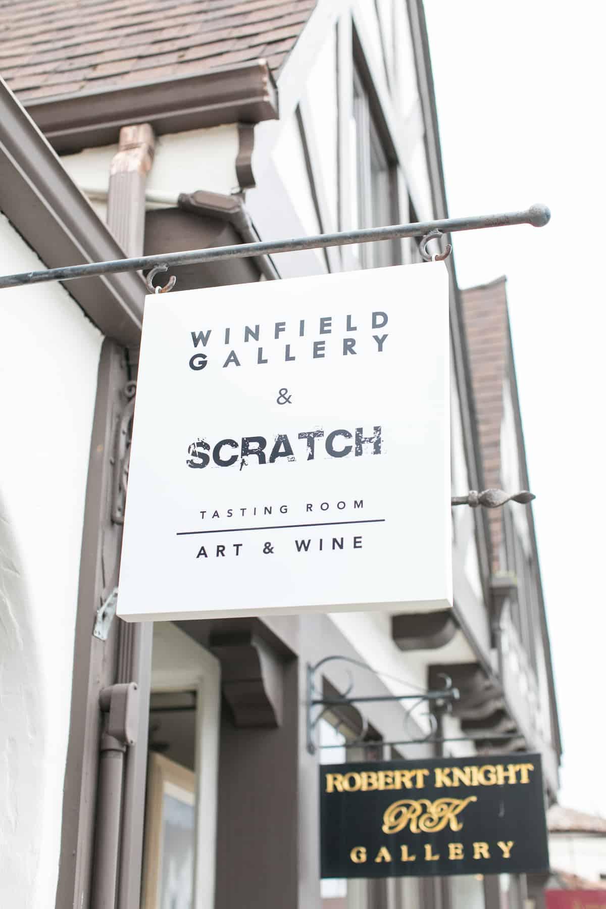 Scratch winery sogn outside of winery in Carmel