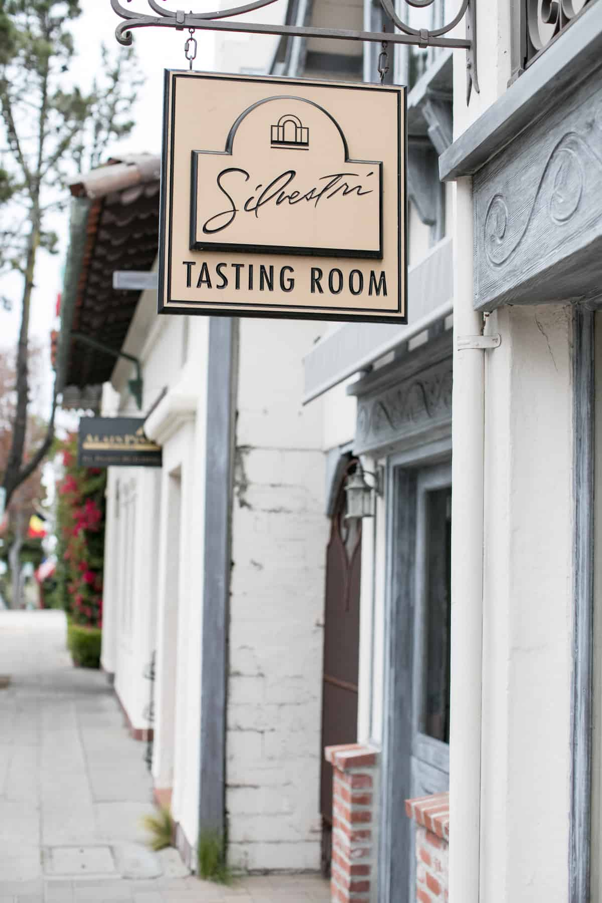 Silvestri tasting room sign outside of the wine room