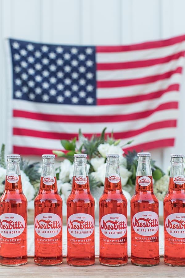 Classic bottles of strawberry soda.