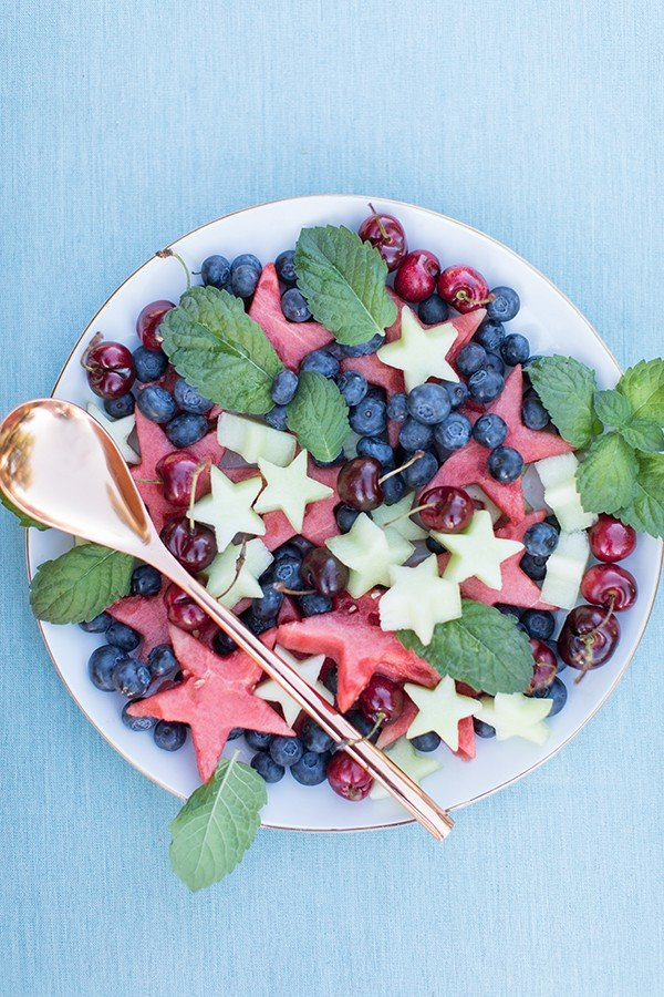 4th if July fruit with star cutouts for a 4th of July party.
