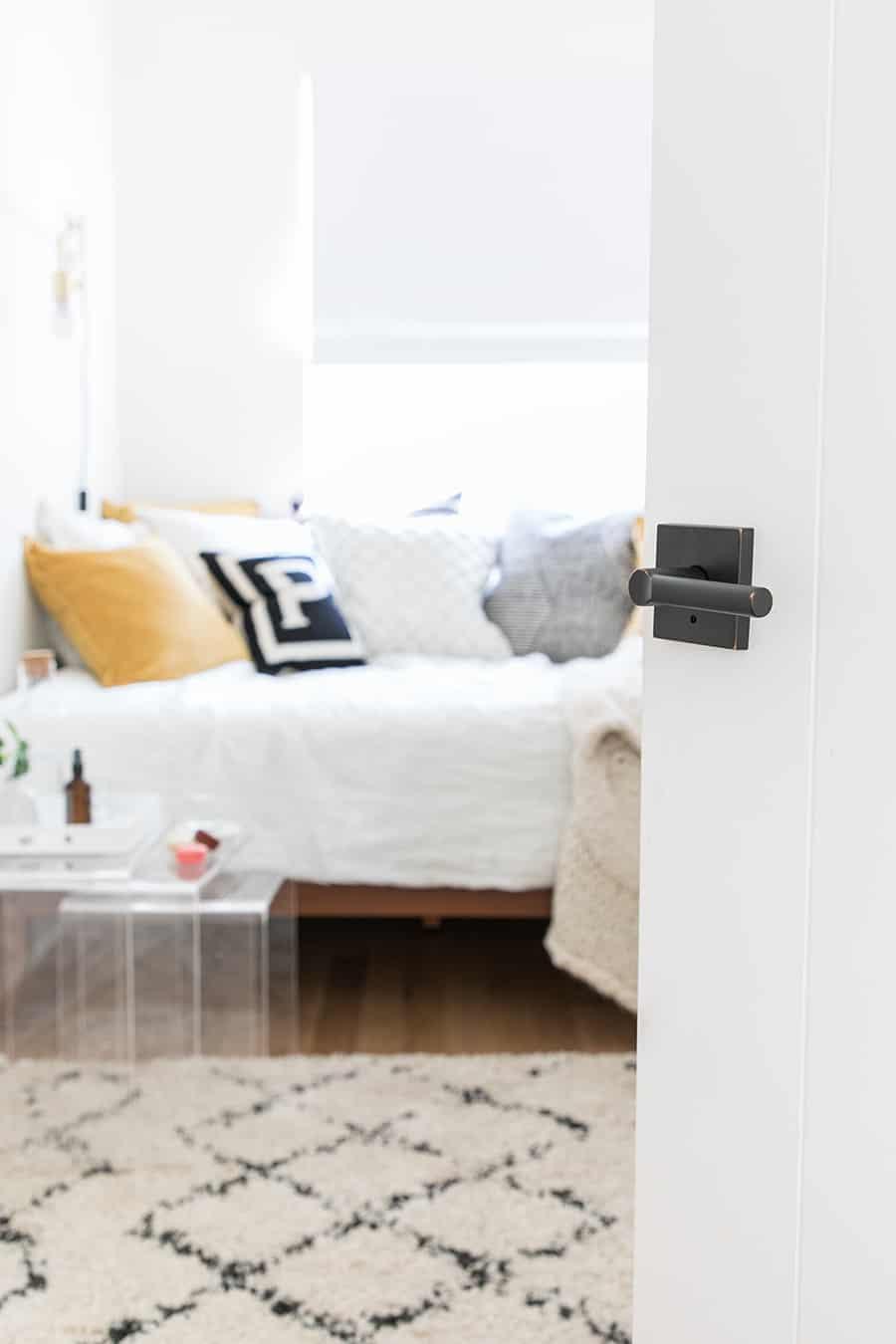 Door open to a guest bedroom