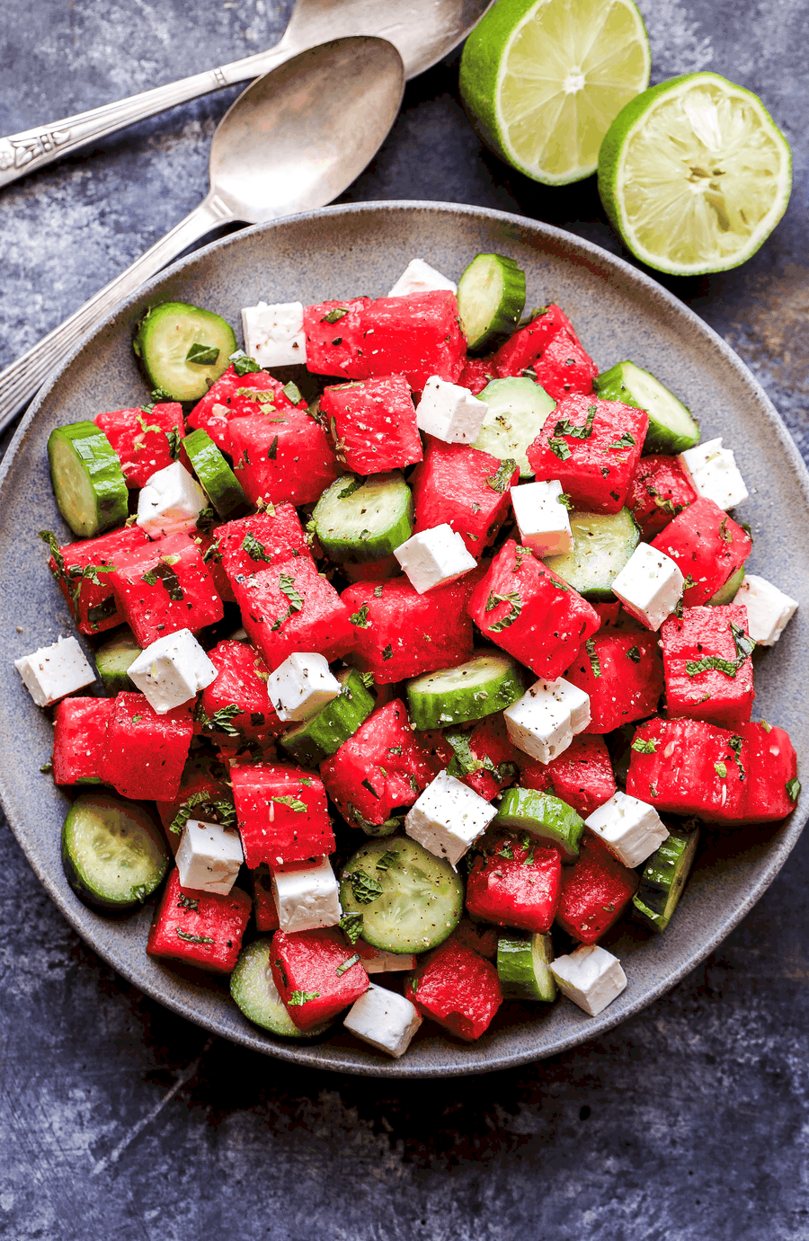 Watermelon salad with cucumber and feta cheese.