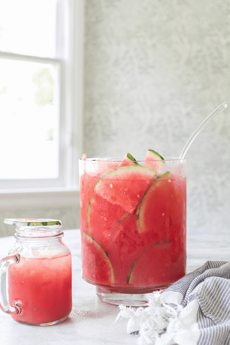 Watermelon cocktail punch in a large punch bowl.