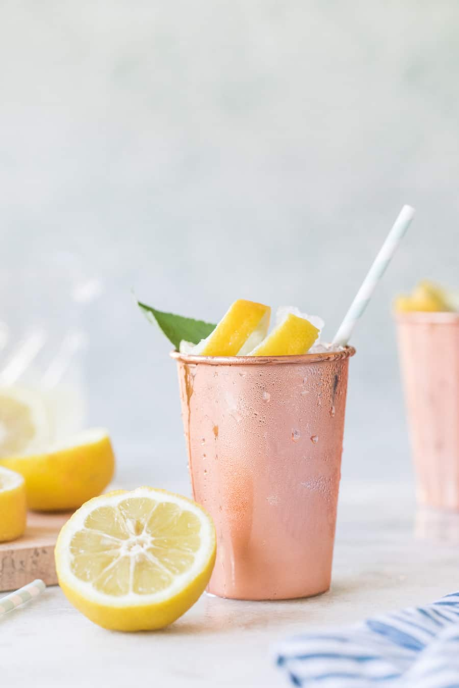 Moscow Mules Recipe in a copper tumble