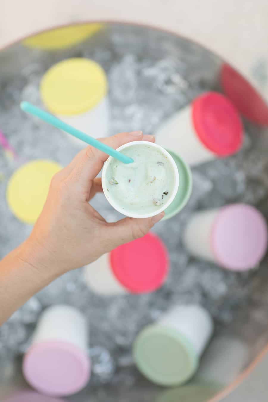 Ice cream in white cup.