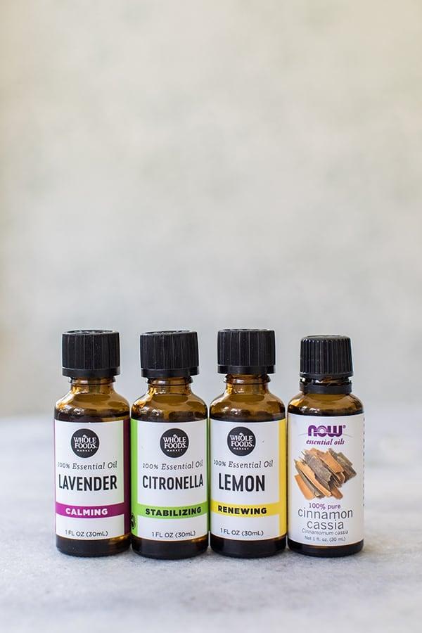 Lavender essential oil, citronella, lemon and cinnamon essential oils.