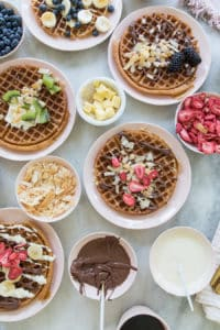 This waffle bar is the best breakfast for overnight guests!