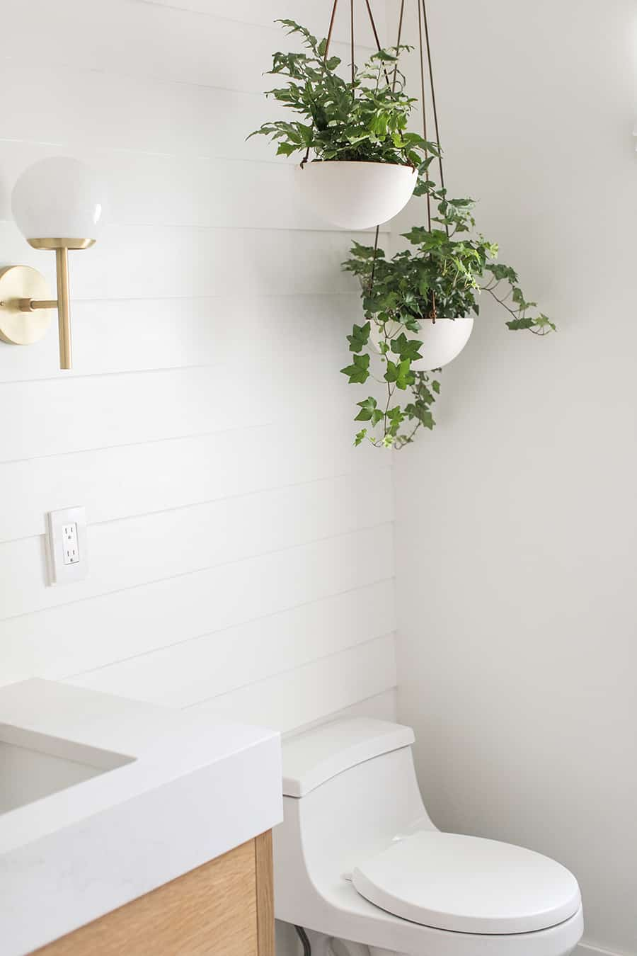 Kohler toilet with shiplap and hanging plants.