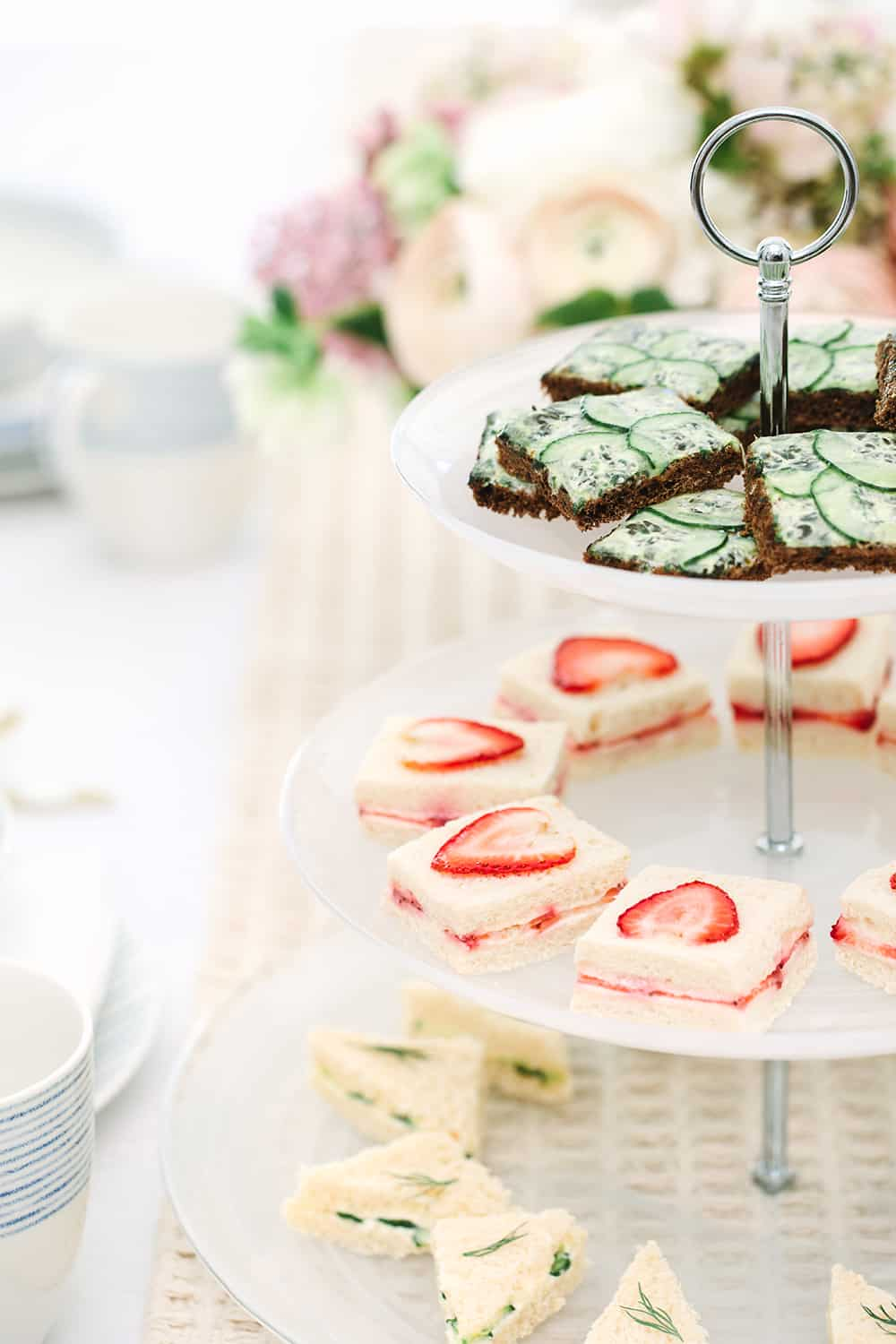 Tea sandwiches on a platter from Macy's Wedding registry.