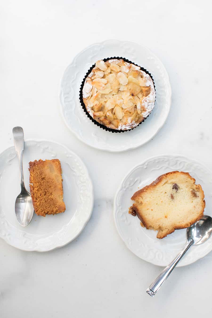 Pastries on white plates