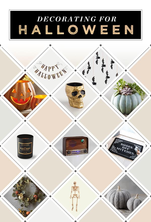 A graphic showing different Halloween decorations to use in your home.