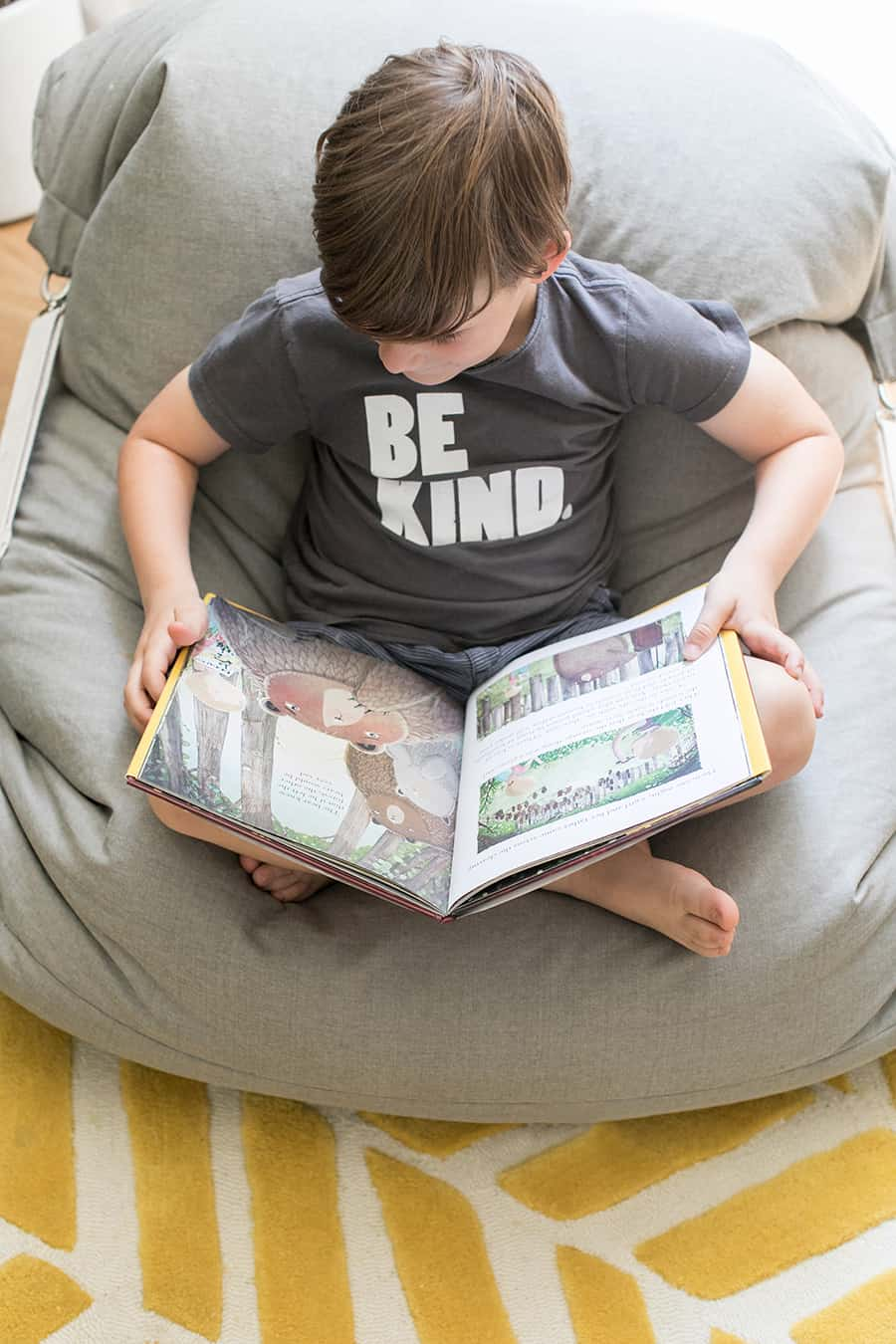 Little boy in a beanbag chair reading a book.