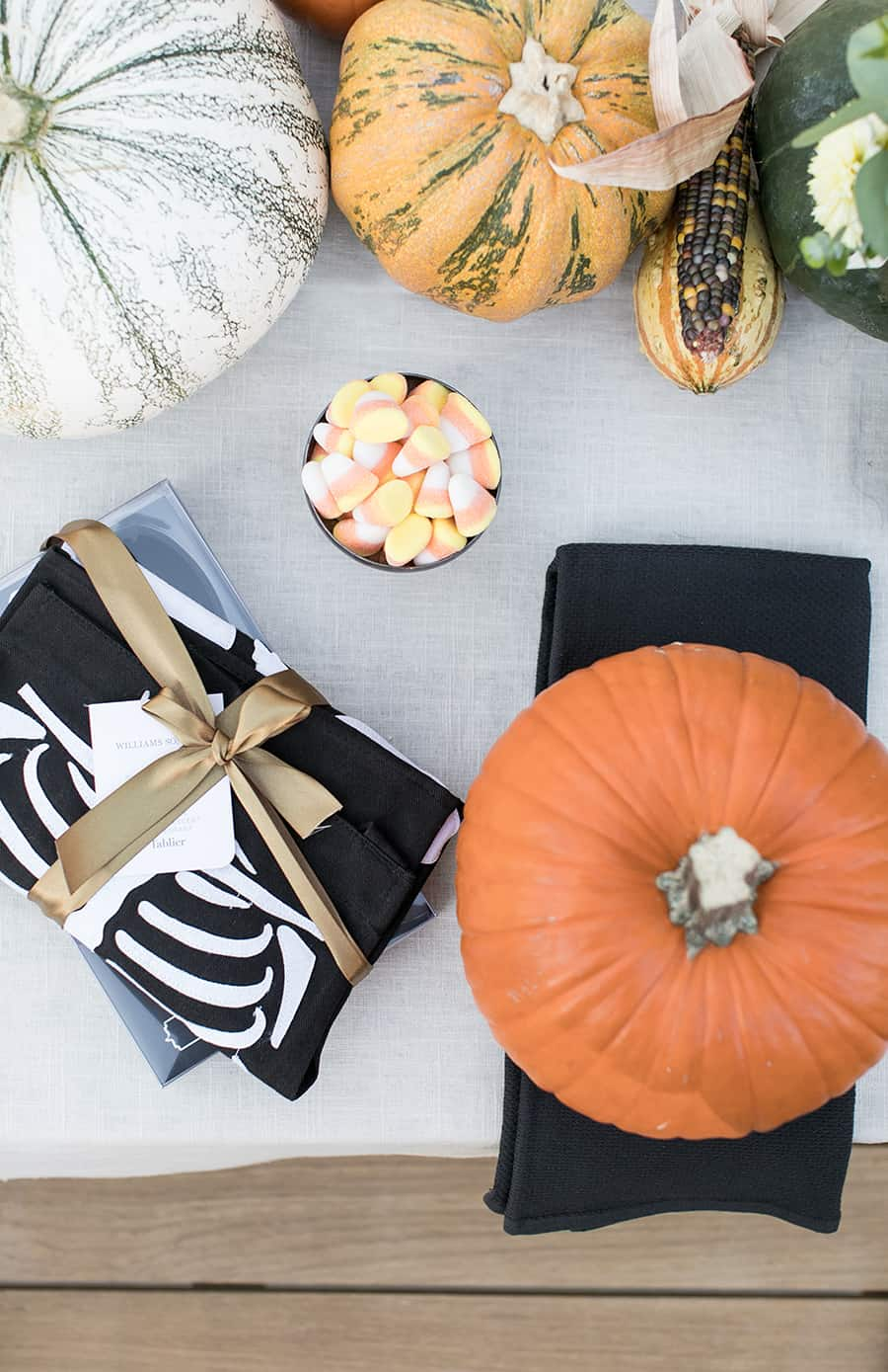 top down shot of spread for pumpkin carving party