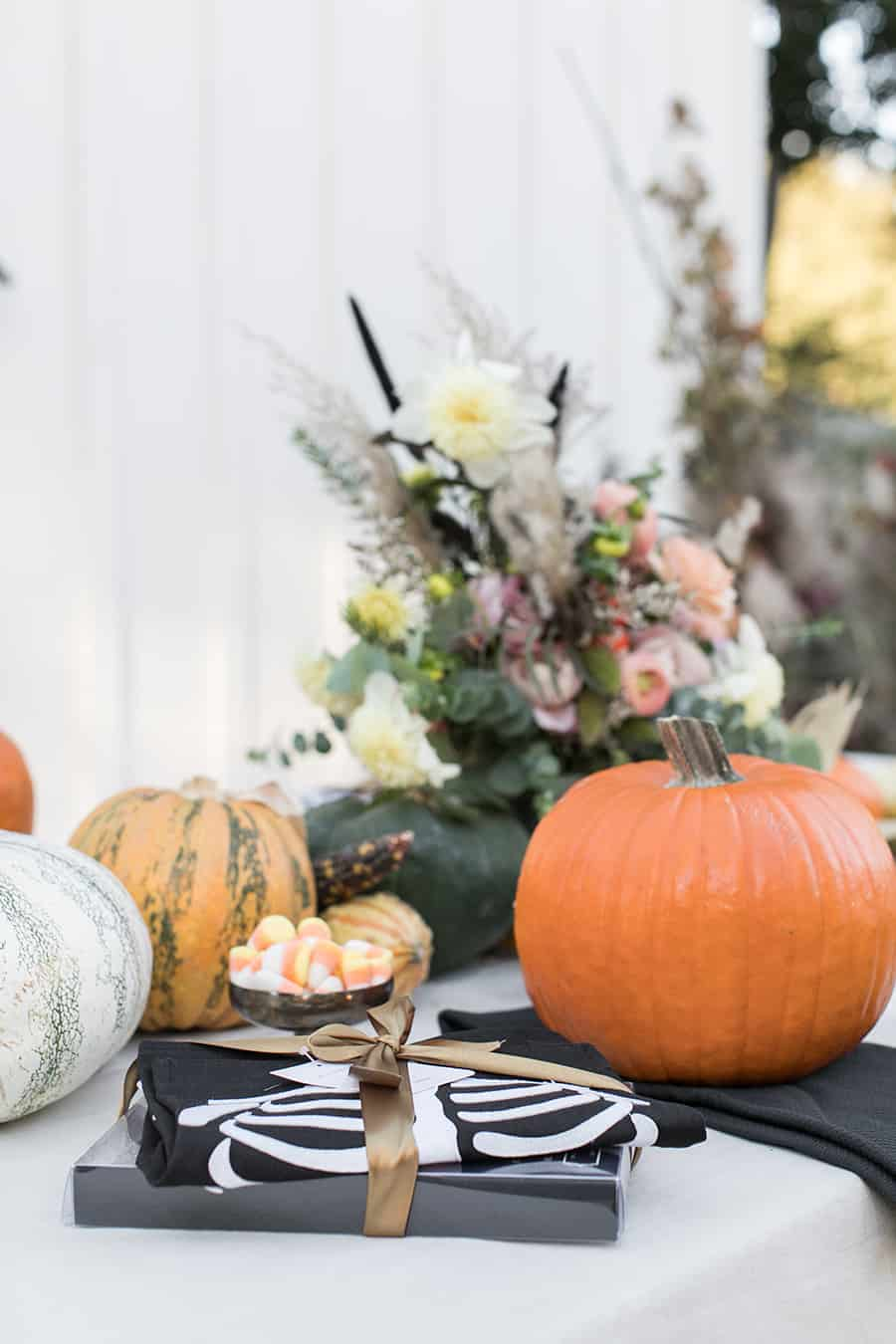 shot of pumpkins and pumpkins on a table