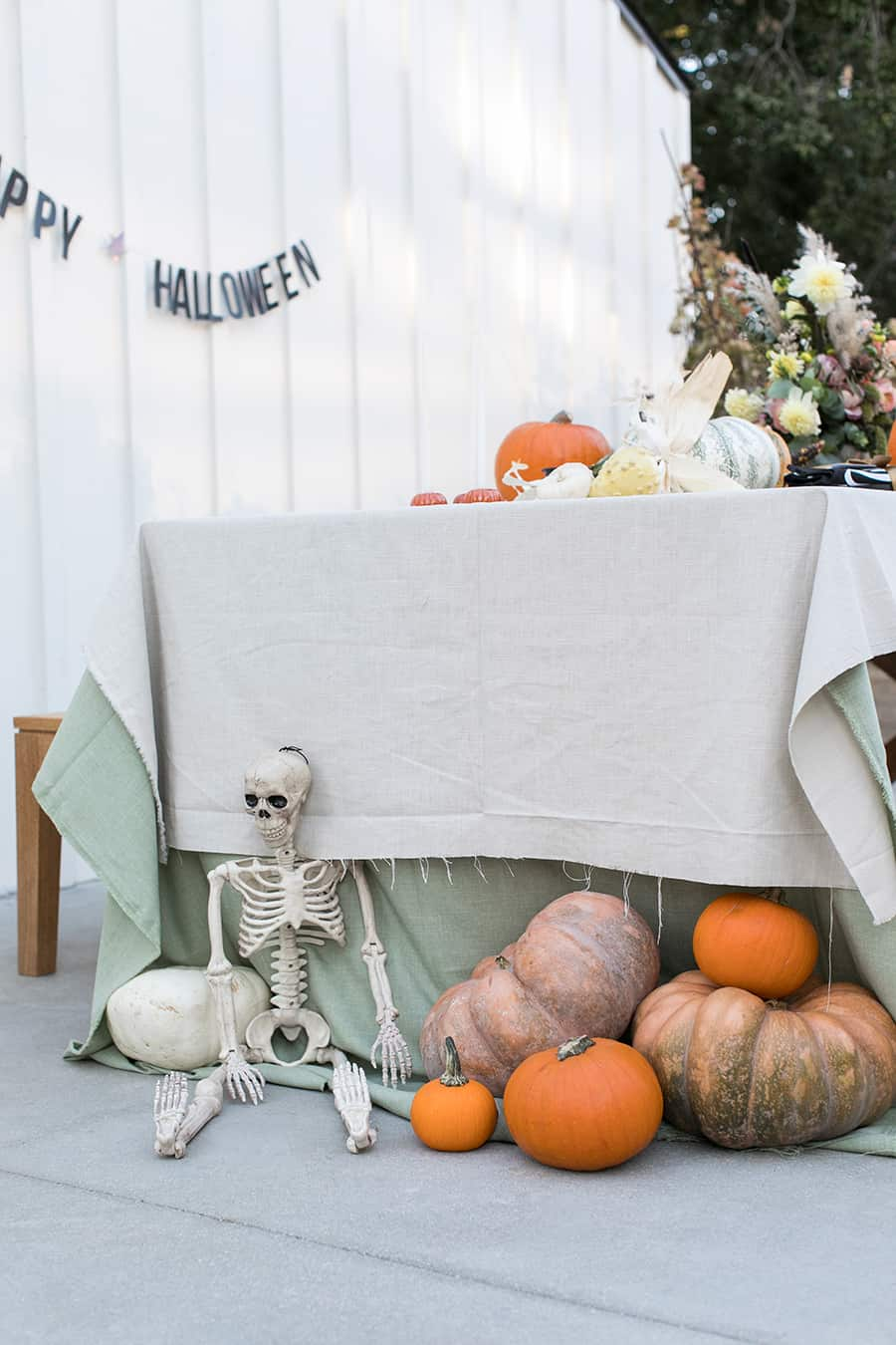 shot of table with pumpkins