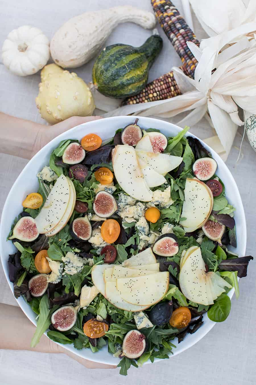 shot of salad for pumpkin carving party