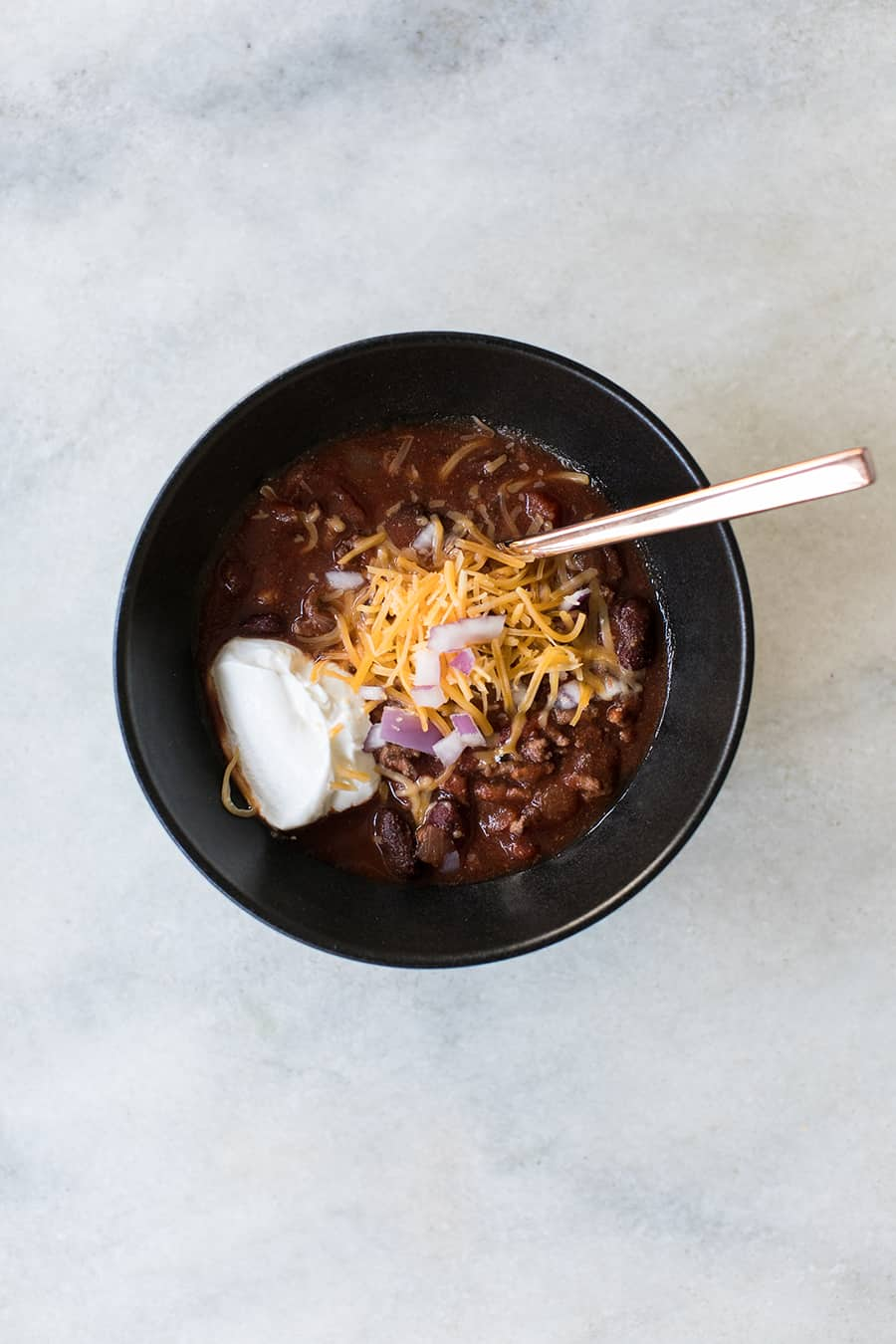top down shot of chili, part of the pumpkin carving party food menu