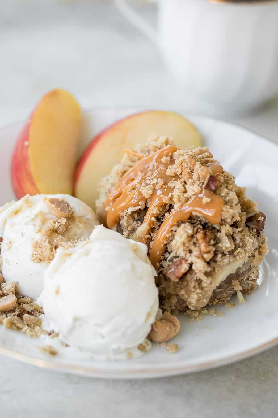 close up of apple crumble bars