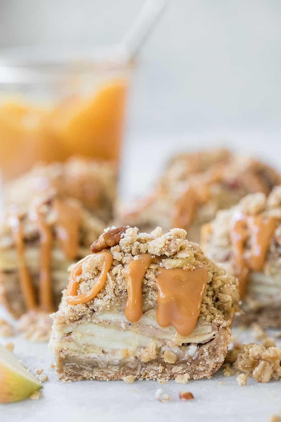 side shot of apple crumble bars