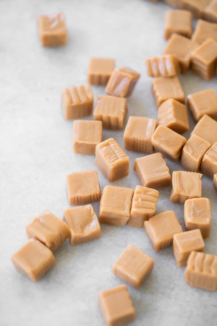 top down shot of caramel candy