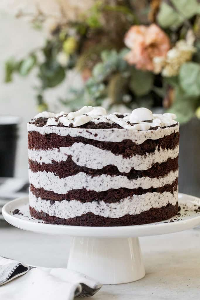 Layered chocolate cake on a cake stand.