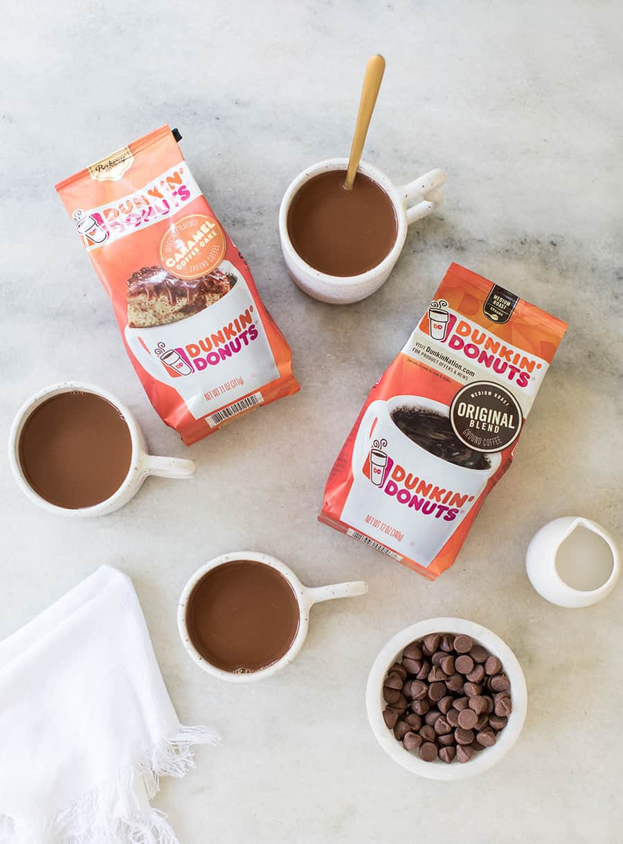 top down shot of dunkin donuts coffee brew packaging