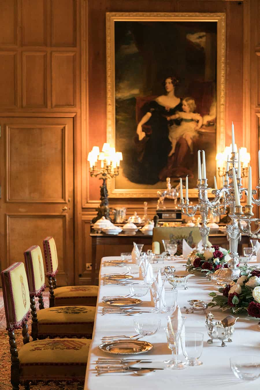 Dining room with large painting at Dunrobin Castle