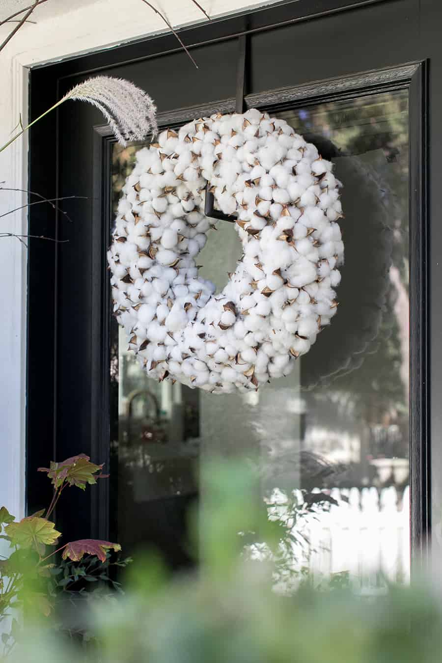 White wreath for fall front porch