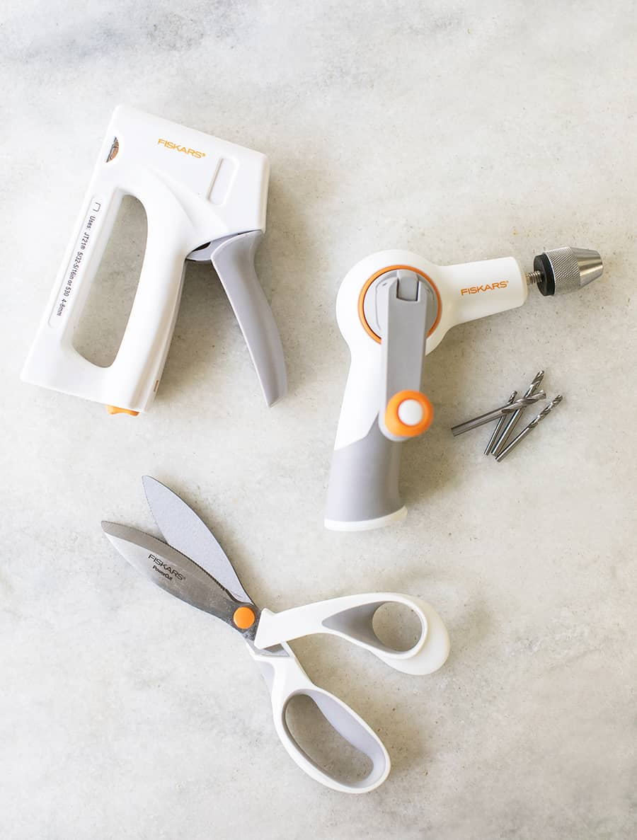 shot of fiskars tools on a marble table