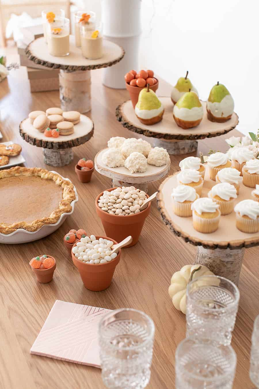 top down shot of dessert table