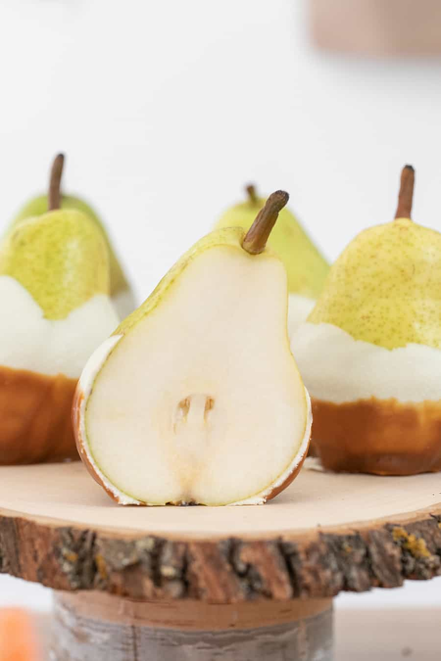 shot of a pear on the cake stand
