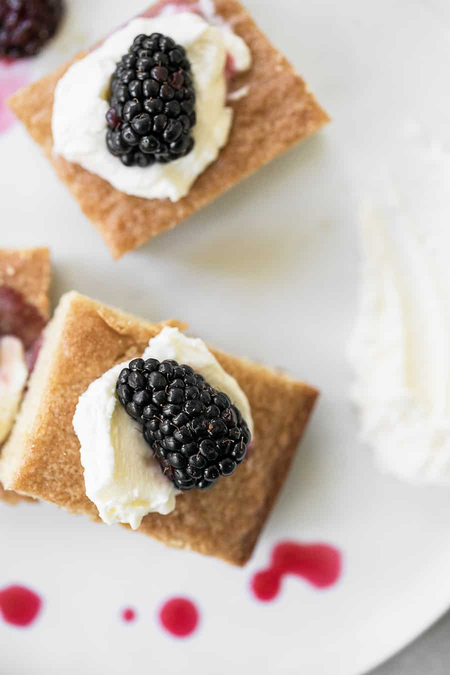Cake with creme Fraiche and blackberry