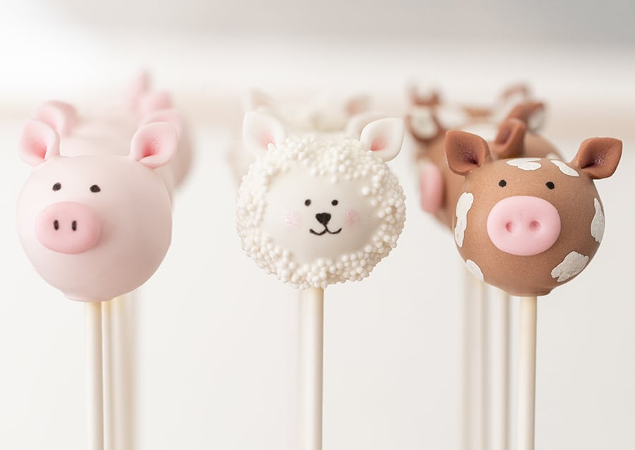 pig, lamb and cow cake pops