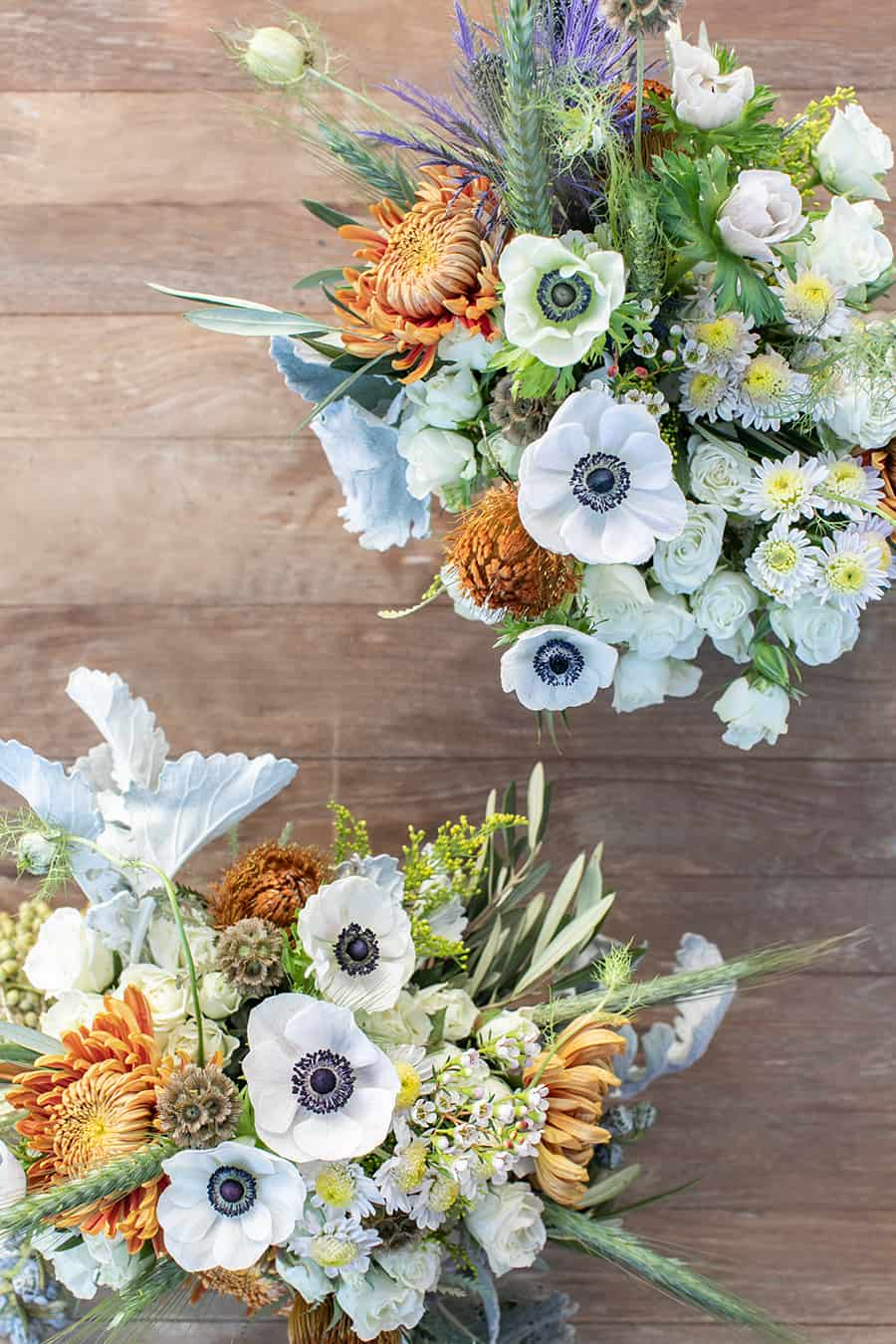 pretty barnyard flowers on wooden table