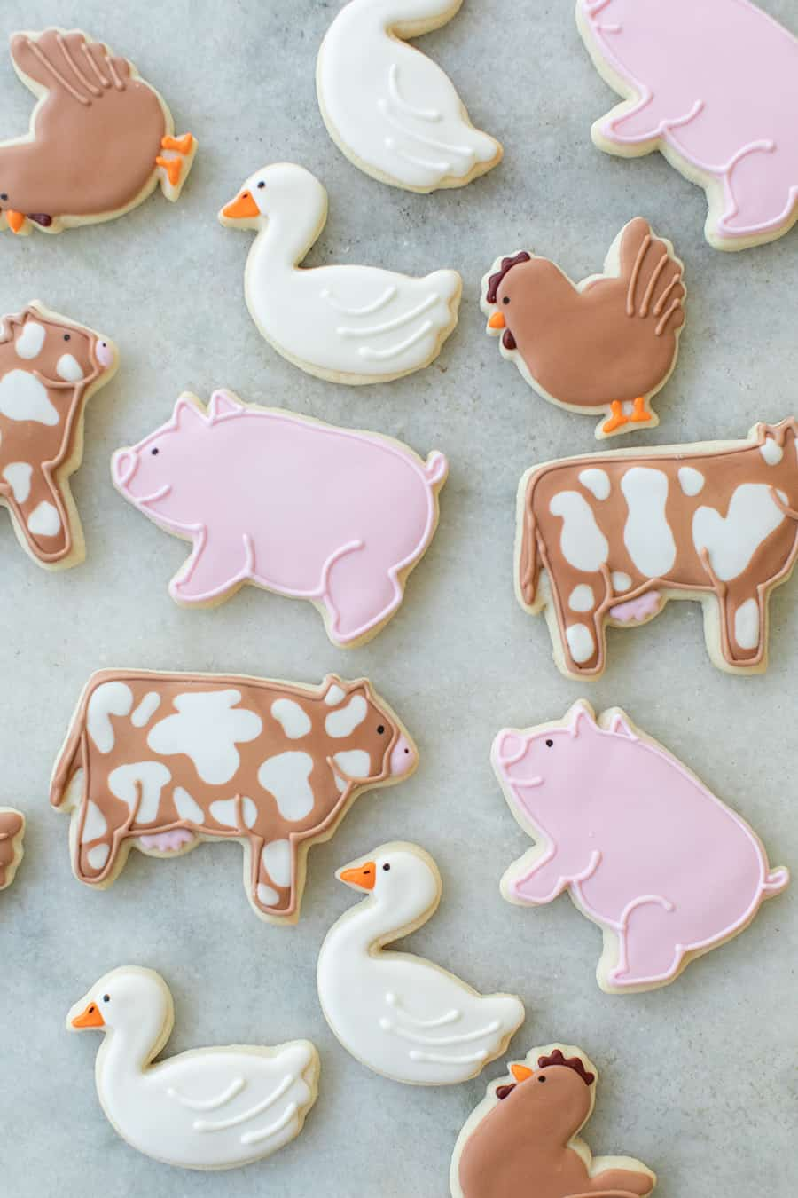 cow, pig and geese sugar cookies