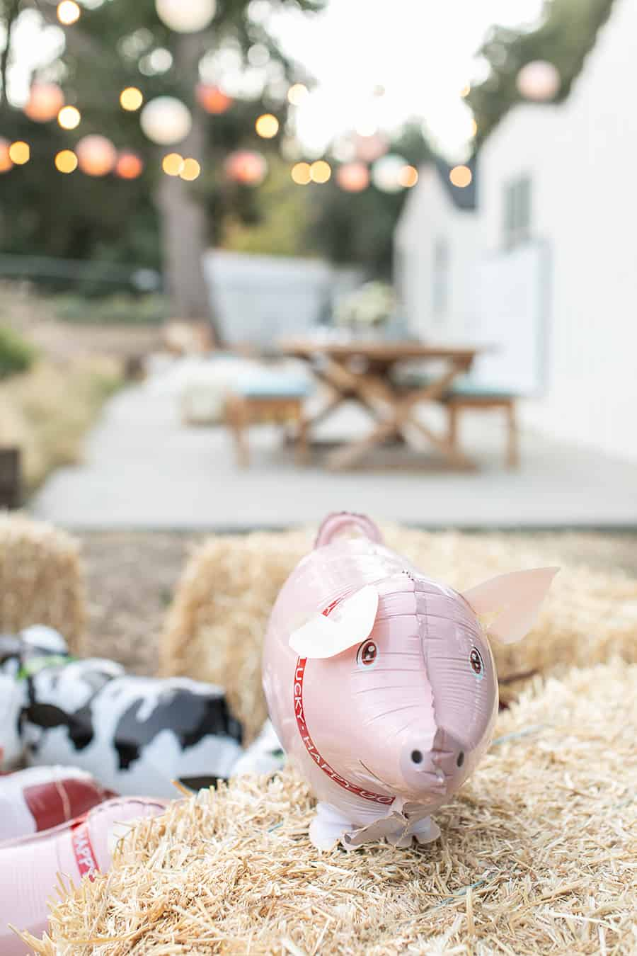 Pig balloon on hay bale
