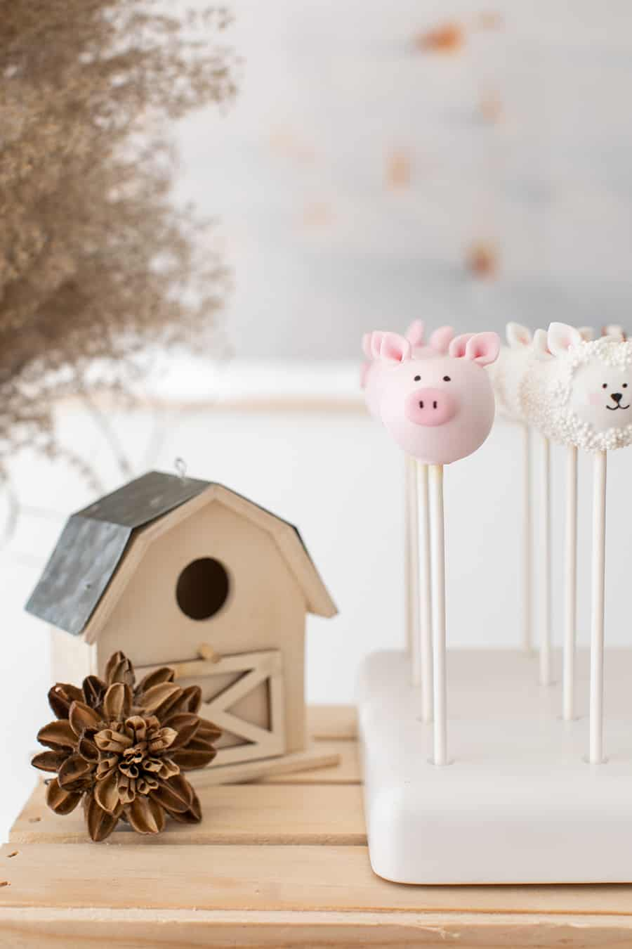 pig cake pops and mini barnyard house