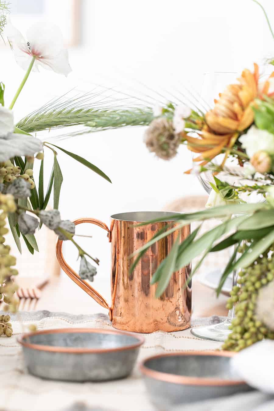 Copper mug and flowers for Thanksgiving